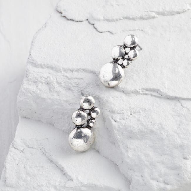 Silver Cluster Stud Earrings