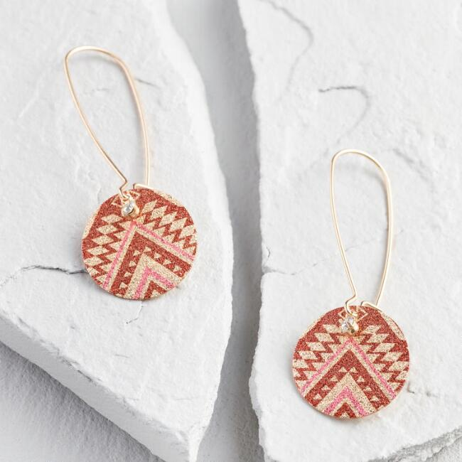 Coral Shimmer Linear Drop Earrings