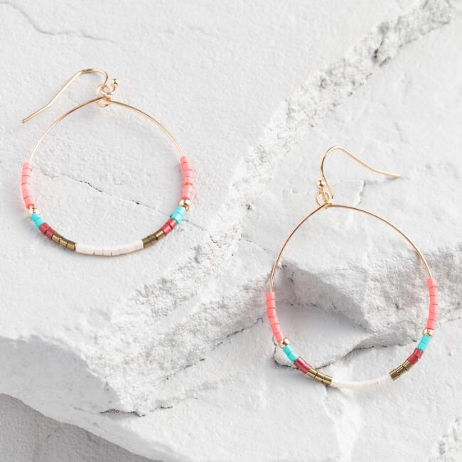Multicolor Beaded Hoop Drop Earrings