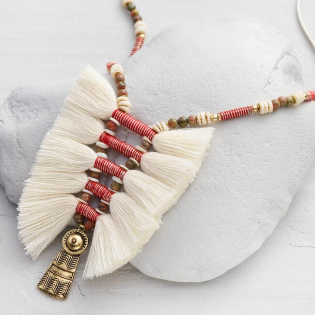 Ivory Tassel Tribal Statement Necklace