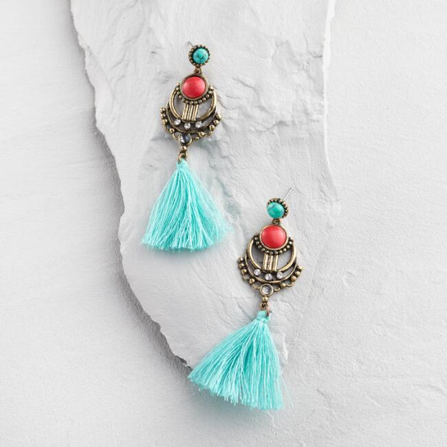 Coral and Turquoise Tassel Earrings