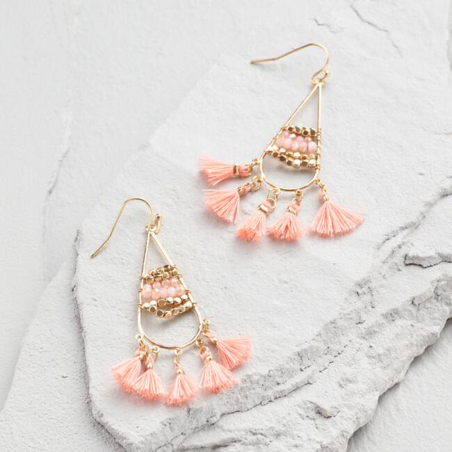 Coral Bead and Tassel Drop Earrings