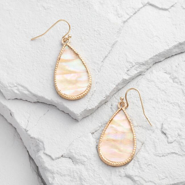 Gold and Mother of Pearl Drop Earrings