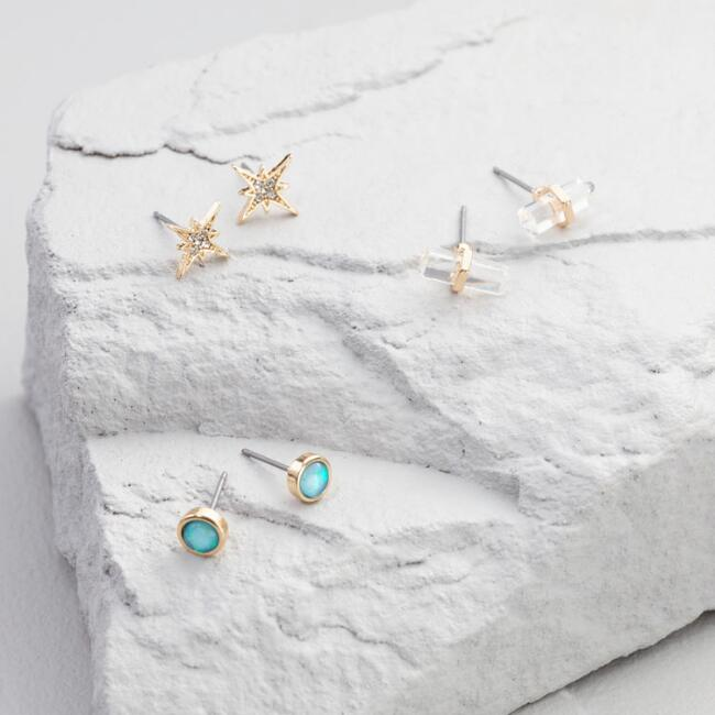 Opal and Crystal Stud Earrings Set of 3