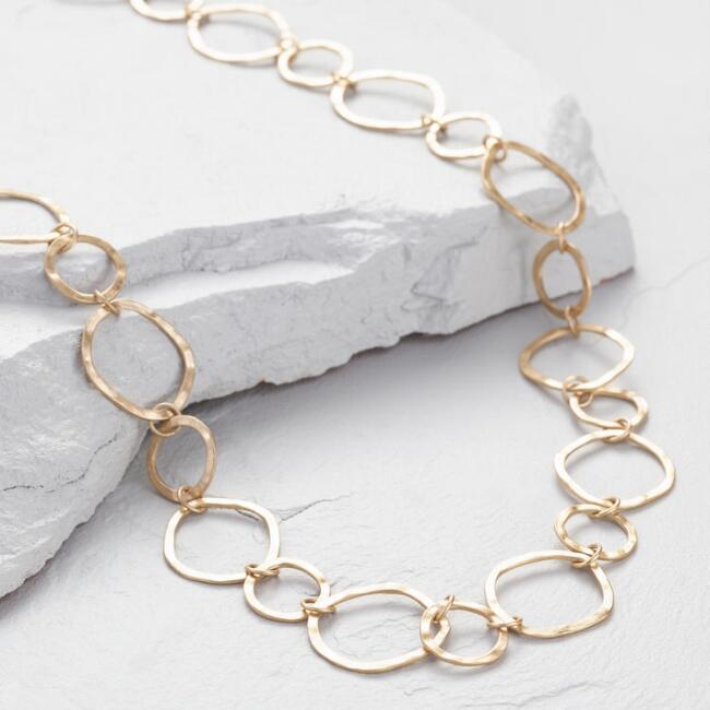 Gold Linked Circles Long Necklace