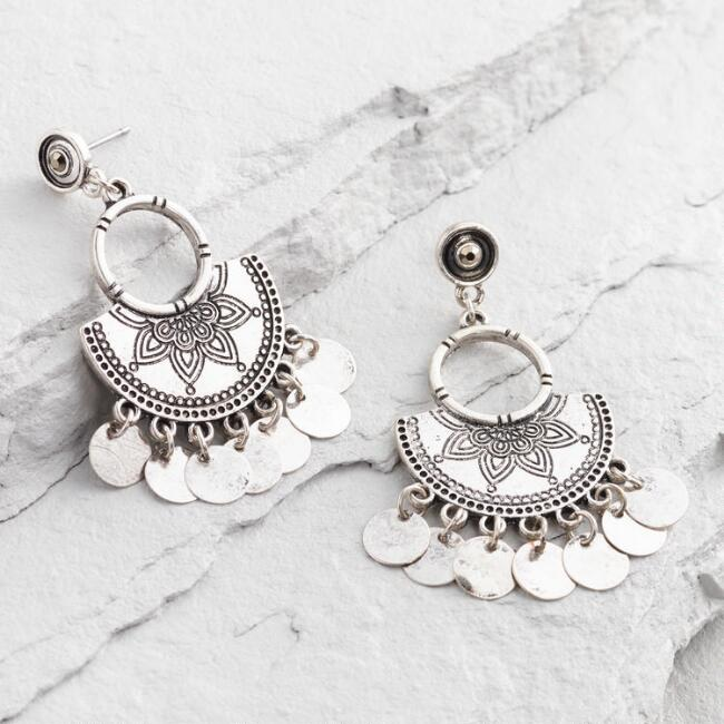 Silver Tribal Stud Drop Earrings