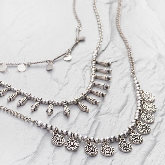 Short Triple Layer Silver Necklace