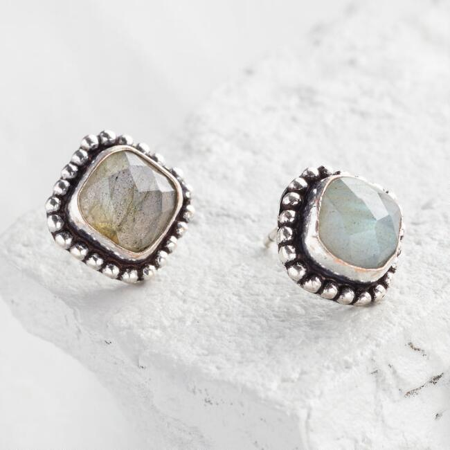Square Labradorite Statement Stud Earrings