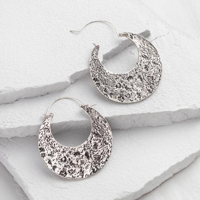 Antique Silver Crescent Hoop Earrings