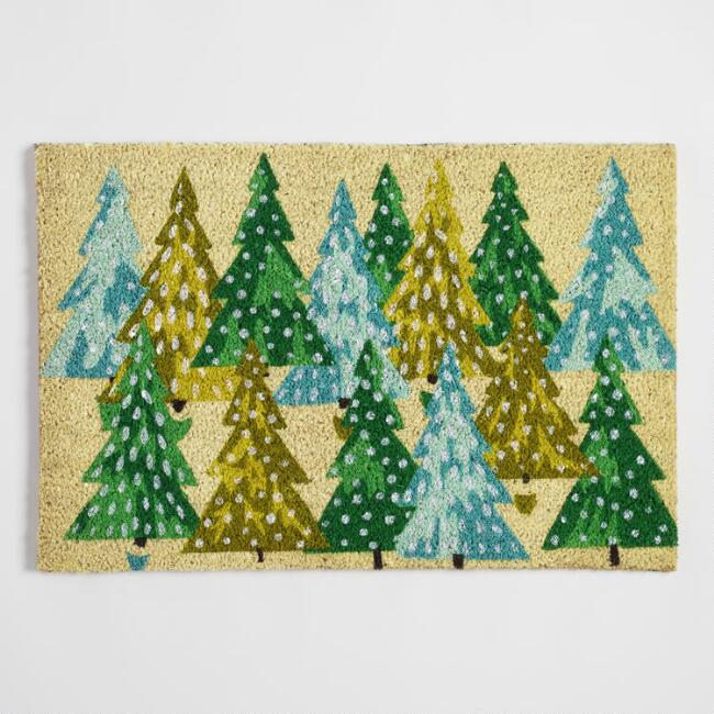 Green Trees Holiday Doormat