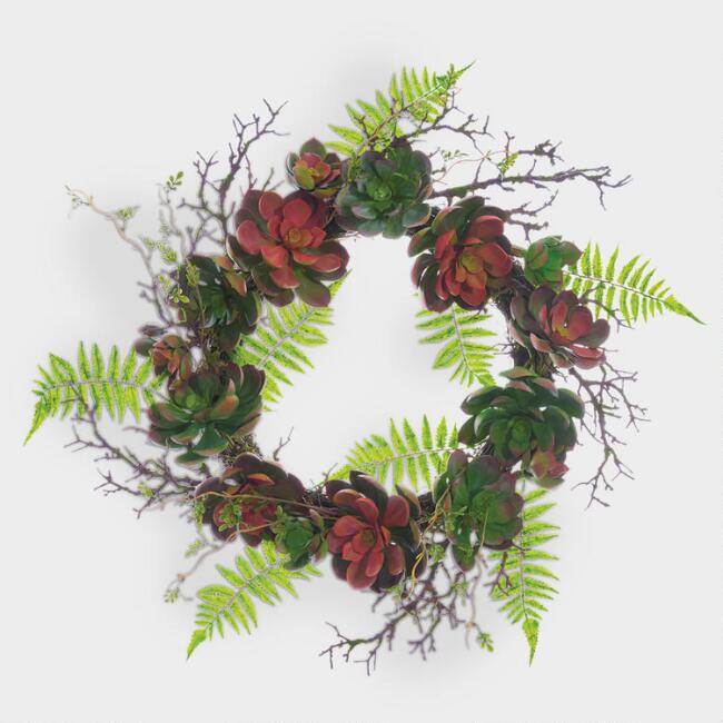 Faux Succulent Fern Garden Wreath