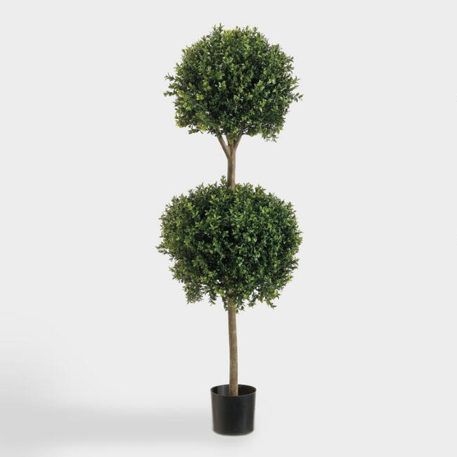 Faux Double Ball Boxwood Topiary