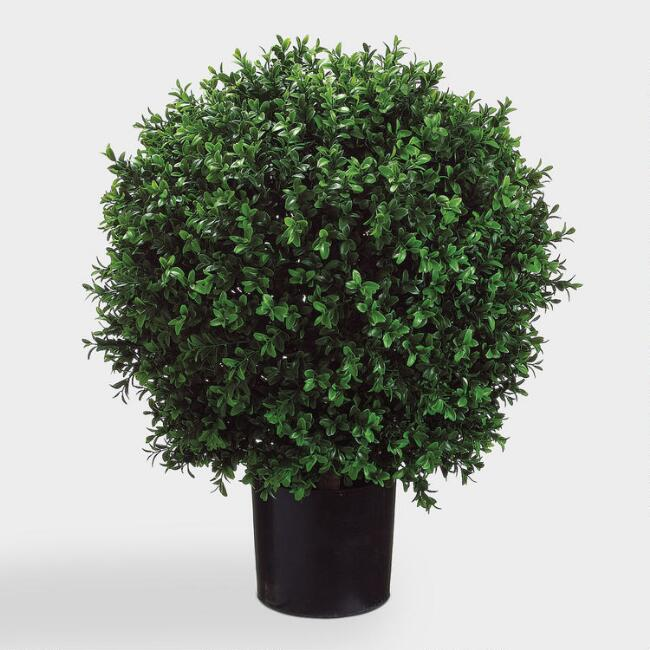 Faux Ball Boxwood Topiary