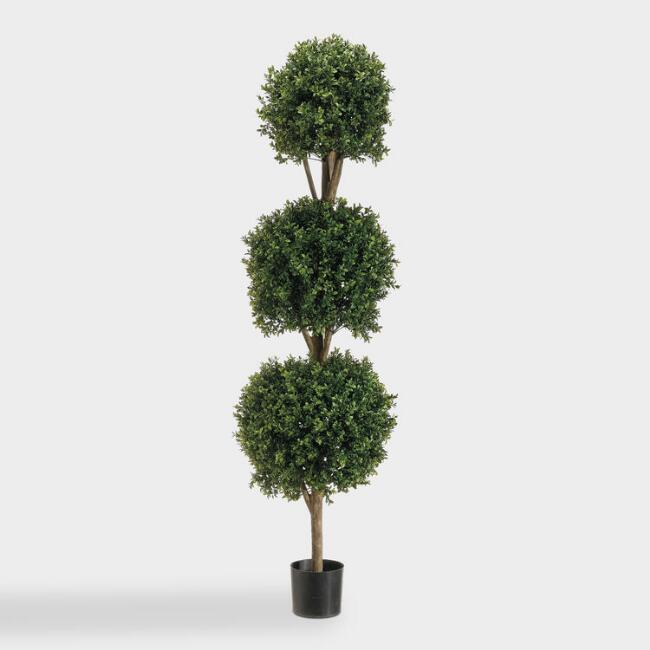 Faux Triple Ball Boxwood Topiary