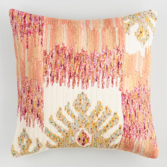 Orange Embroidered Phoenix Throw Pillow