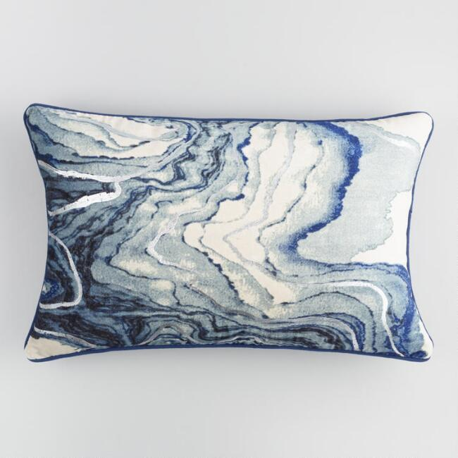Blue Marble Velvet Lumbar Pillow