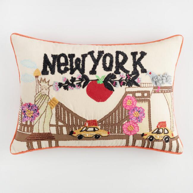 New York Embroidered Lumbar Pillow