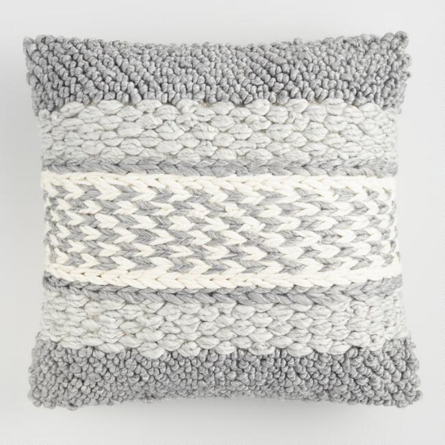 Gray Knitted Indoor Outdoor Throw Pillow