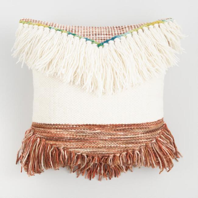 Boho Fringed Poncho Throw Pillow
