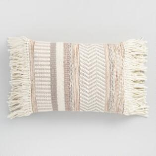 Pillows throws cushions world market neutral stripe fringed indoor outdoor lumbar pillow gumiabroncs Gallery