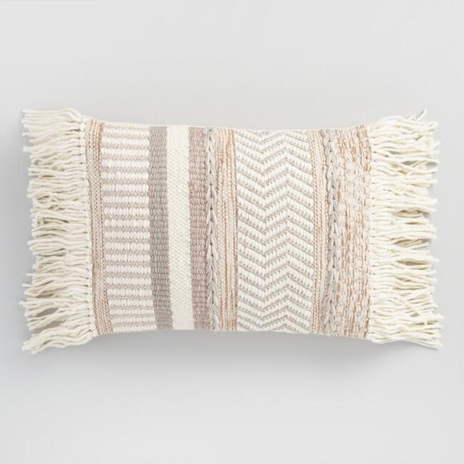 Neutral Stripe Fringed Indoor Outdoor Lumbar Pillow