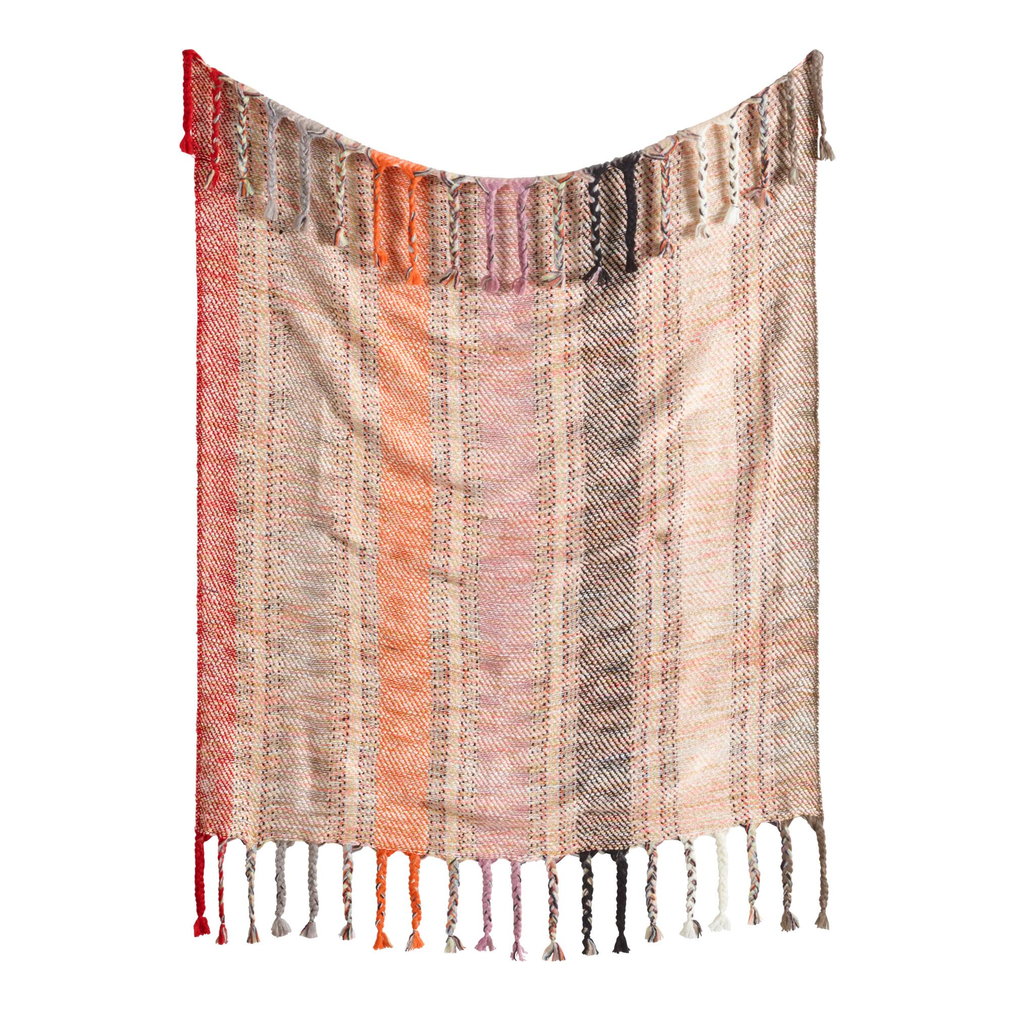 Warm Multi Stripe Boho Throw Blanket - Acrylic by World Market