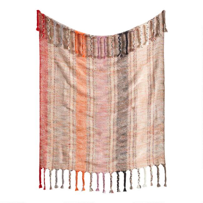 Warm Multi Stripe Boho Throw Blanket