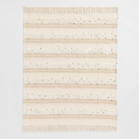 Ivory Moroccan Style Wedding Blanket Throw Previous V3 V1