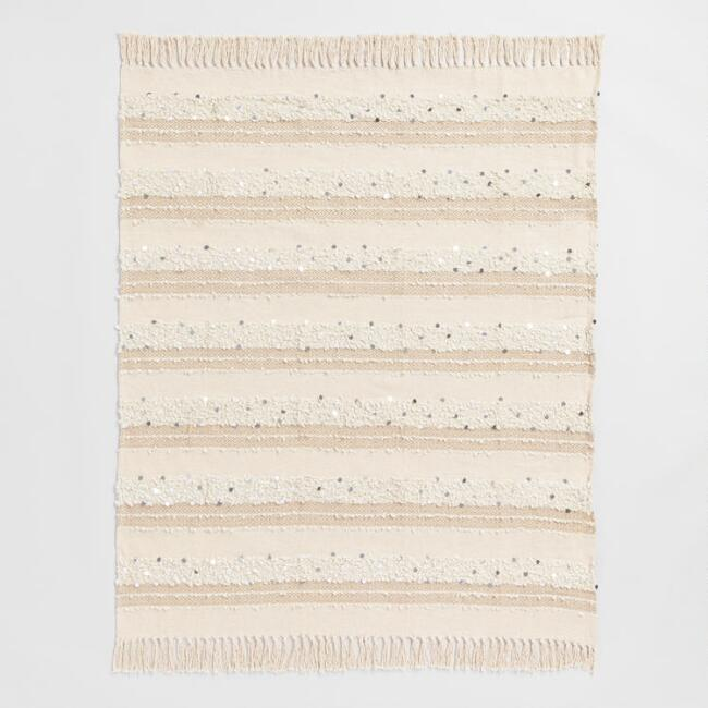 Ivory Moroccan Style Wedding Blanket Throw