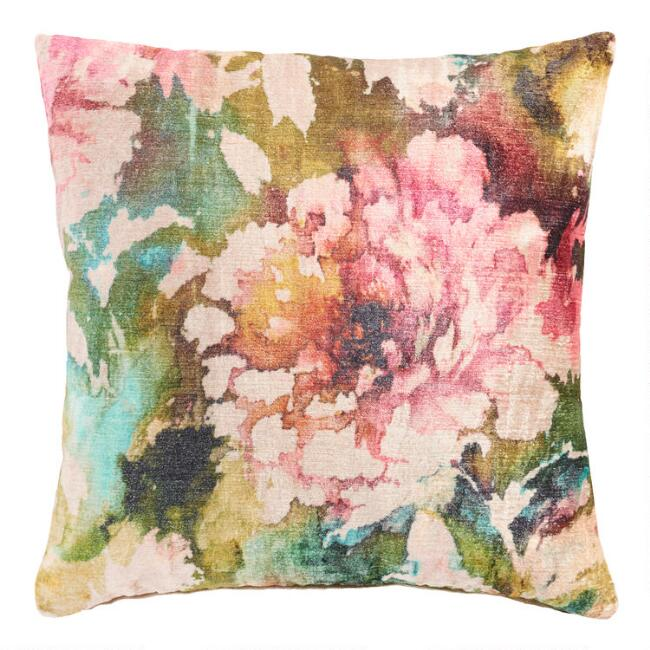 Floral Velvet Lombardy Throw Pillow