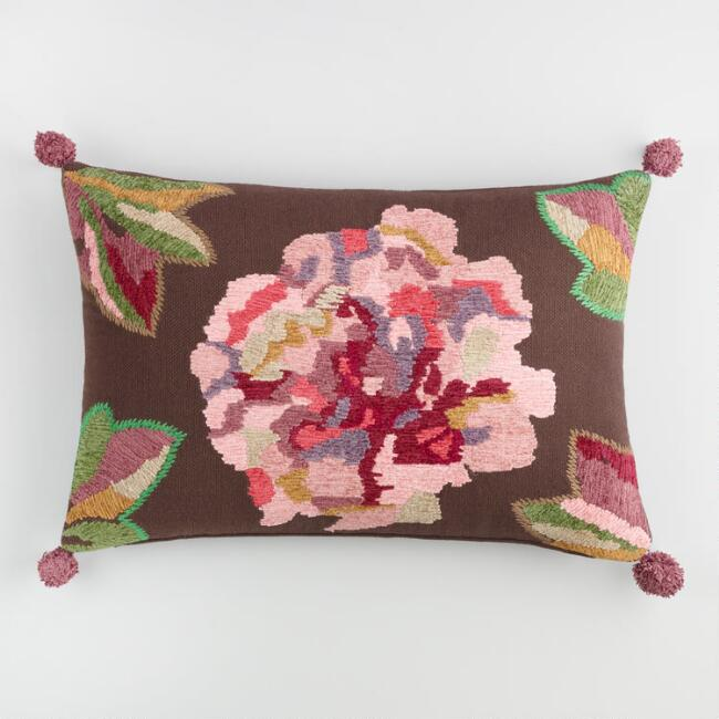 Pink Flower Embroidered Lumbar Pillow
