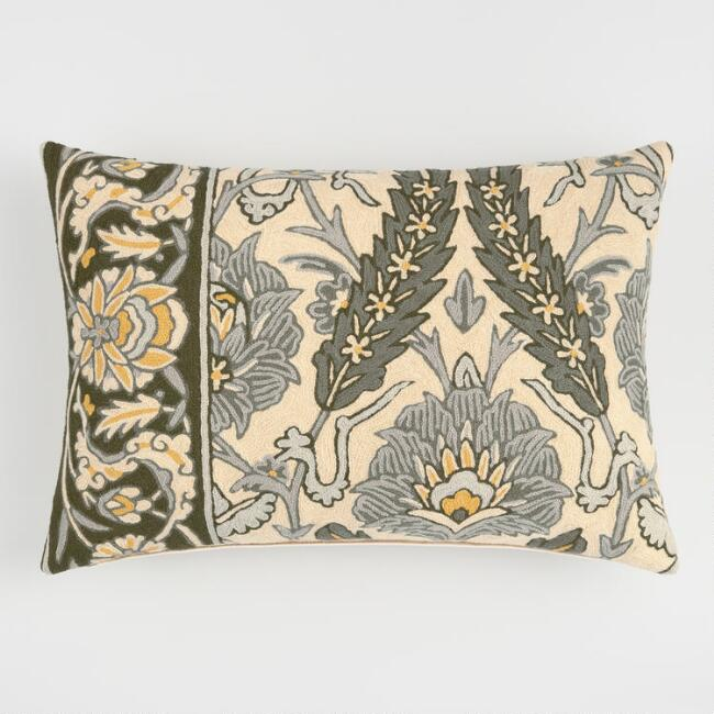 Green Floral Embroidered Wool Throw Pillow