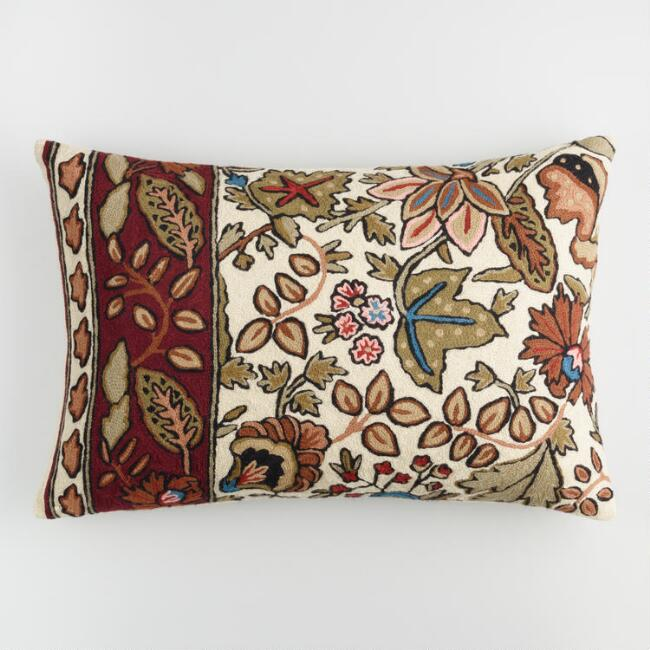 Brown Floral Embroidered Wool Lumbar Pillow