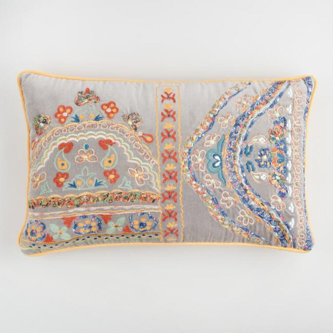 Multicolor Embroidered Velvet Lumbar Pillow