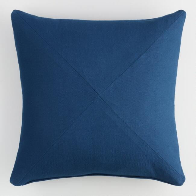 Indigo Blue Herringbone Cotton Throw Pillow World Market