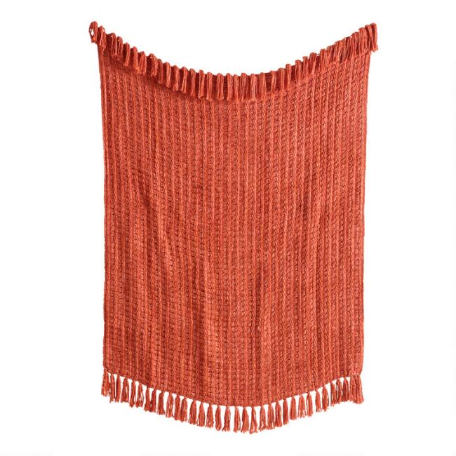 Rust Chunky Woven Throw