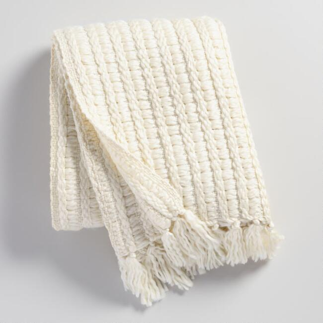 Ivory Chunky Woven Throw
