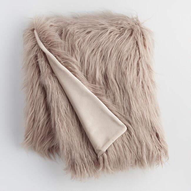Mocha Mongolian Faux Fur Throw