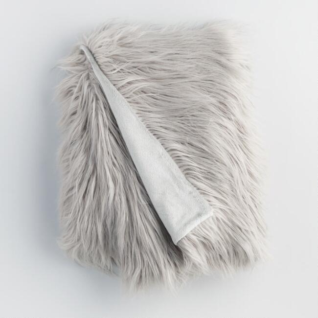 Gray Mongolian Faux Fur Throw
