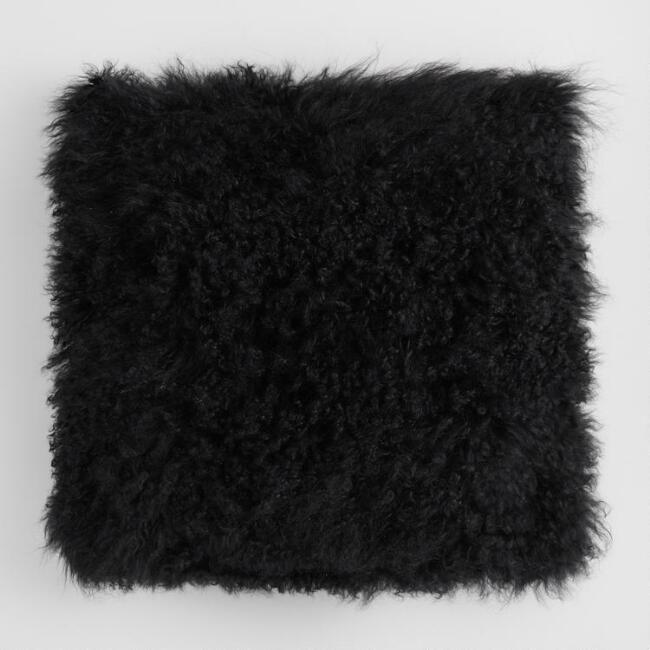 Black Mongolian Lamb Fur Throw Pillow