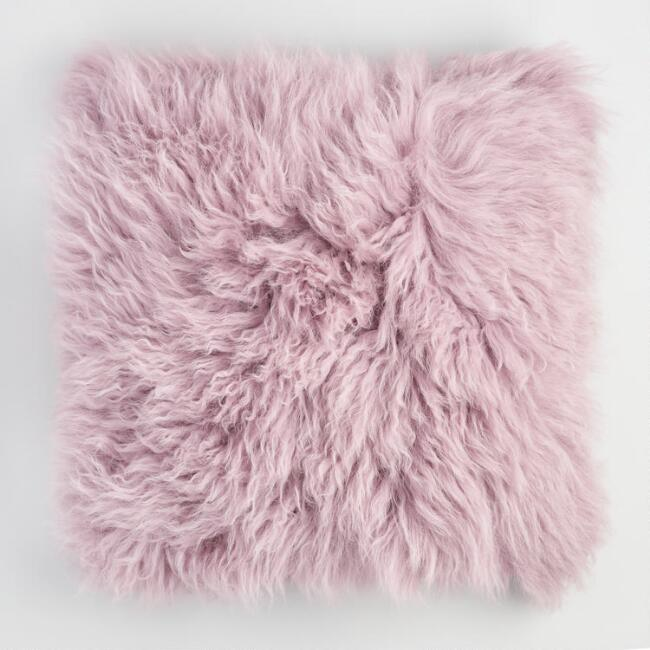 Lavender Mongolian Lamb Fur Throw Pillow