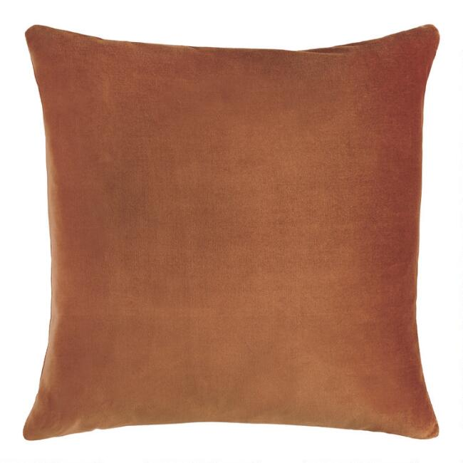 Copper Velvet Throw Pillow