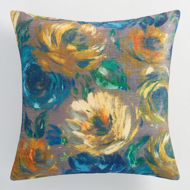 Floral Oil Paint Throw Pillow