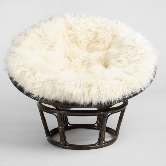 Ivory Mongolian Faux Fur Papasan Cushion