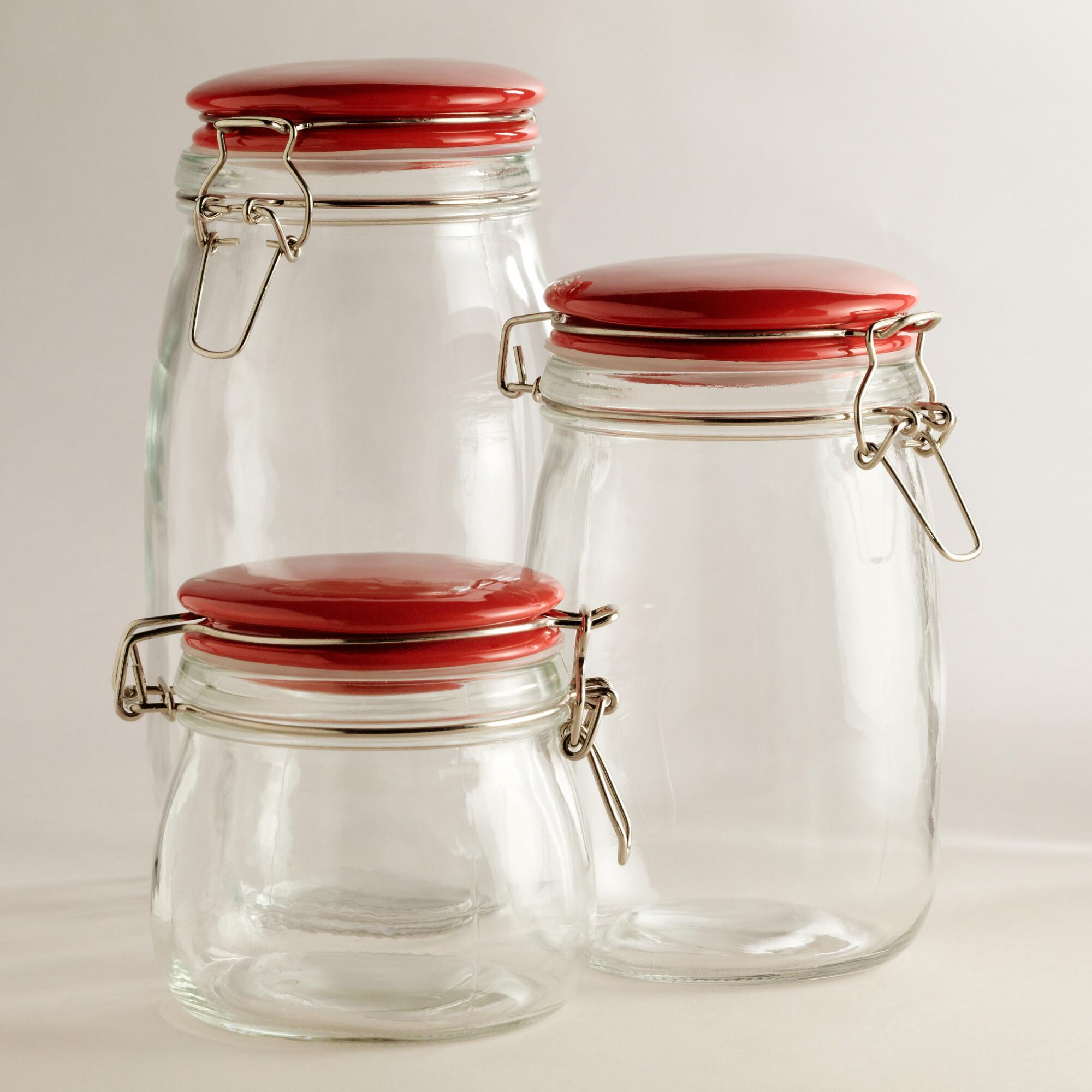 kitchen glass canisters with lids glass canisters with red cl lids world market 5268