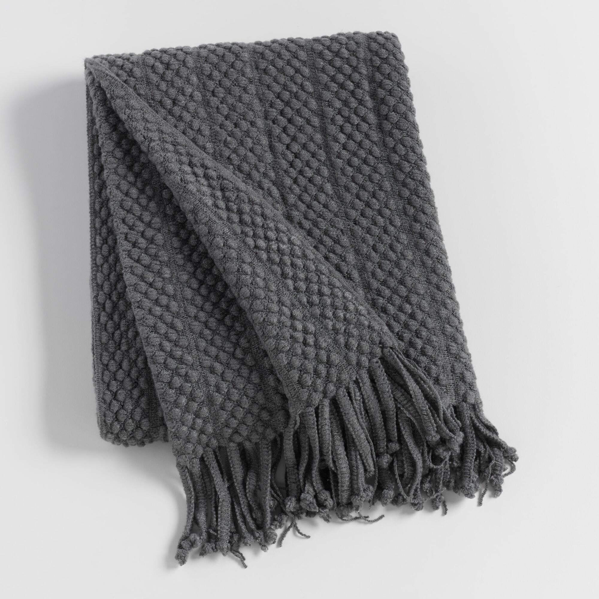 Charcoal Textured Throw: Gray - Acrylic by World Market
