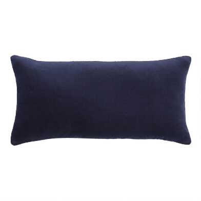 Navy Blue Velvet Lumbar Pillow
