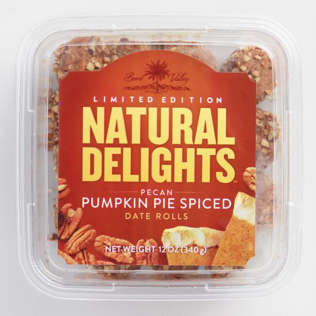 Natural Delights Pecan and Pumpkin Pie Spiced Date Roll