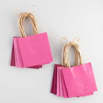 6 Pack Mini Pink Kraft Gift Bags Set of 2