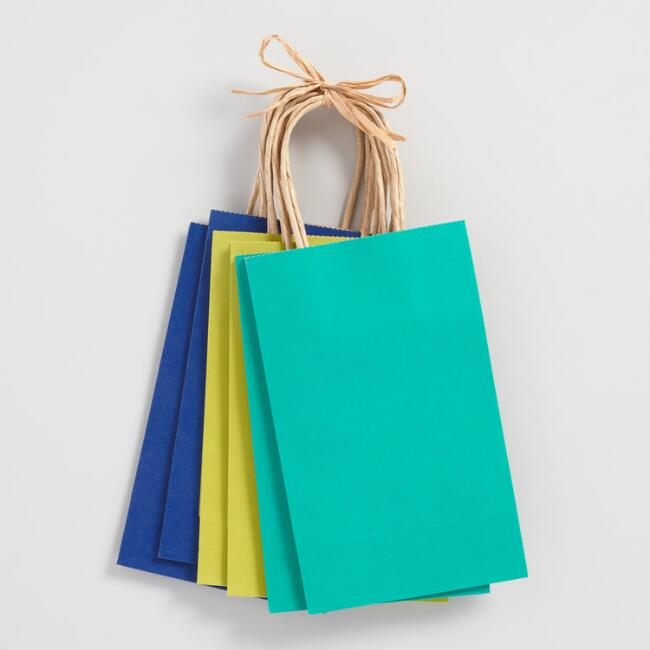Small Blue Kraft Gift Bags Set of 6